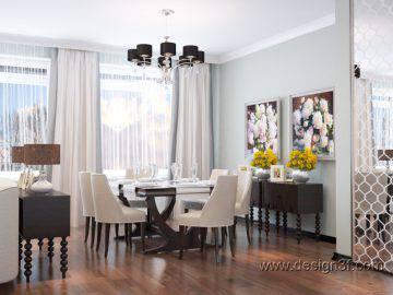 Дизайн интерьера гостиной со столовой зоной
