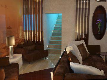 Футуристический стиль в интерьере гостиной
