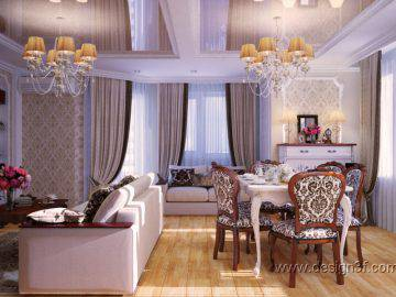 Дизайн гостиной в неоклассическом стиле. Фото новинка 2015