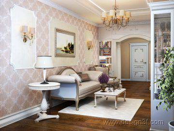 Дизайн проект гостиной в классическом стиле
