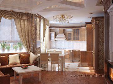 Гостиная с кухней в классическом стиле