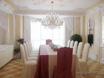 Большая гостиная и столовая в классическом стиле