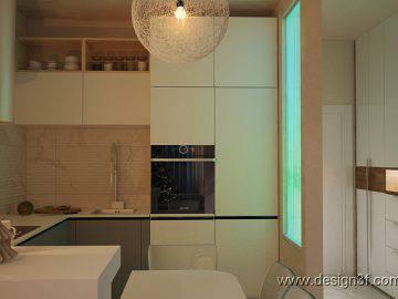 Современный интерьер гостиной с кухней, новогоднее оформление