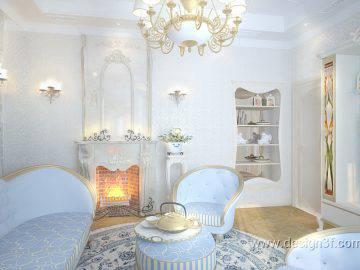 Гостиная в стиле арт-деко с голубых тонах