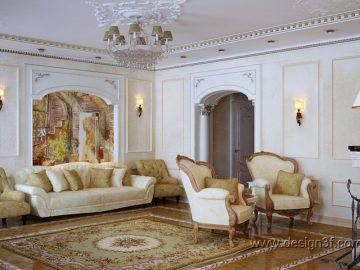 Дизайн интерьера светлой гостиной в классическом стиле