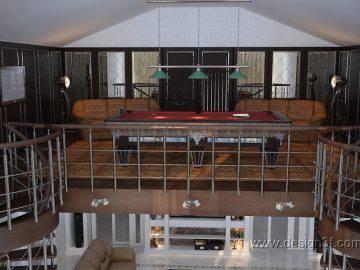 Интерьер гостиной с высокими потолками