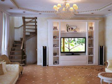 Дизайн гостиной в доме в неоклассическом стиле