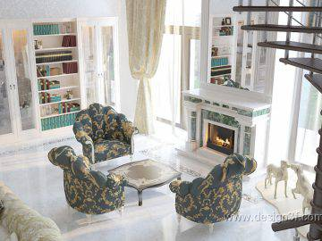 Дизайн интерьера большой гостиной