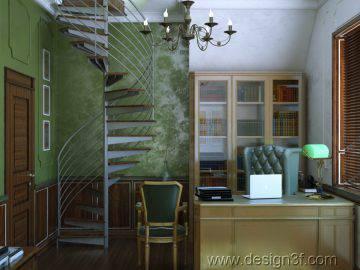 Кабинет с винтовой лестницей