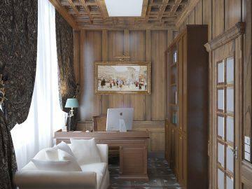 Панели из дерева в дизайне кабинета