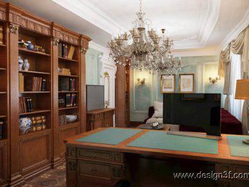Интерьер кабинета в классическом стиле в квартире