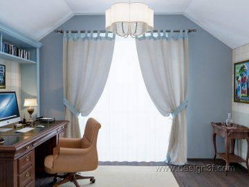 Дизайн кабинета в голубом цвете