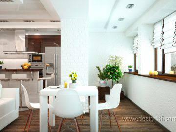 Гостиная с кухней в современной стилистике