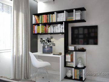Интерьер современного кабинета в черно-белом цвете