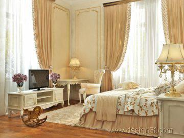 Интерьер детской комнаты в классическом стиле для девочек