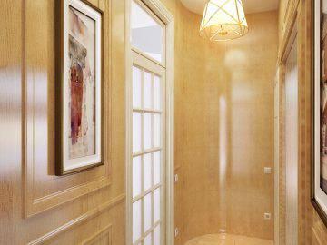 Деревянные стеновые панели в интерьере прихожей