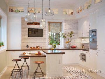 Интерьер светлой кухни в стиле прованс