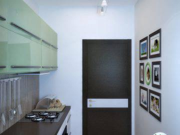 Маленькая узкая кухня в доме