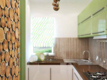 Срезы дерева в интерьере кухни