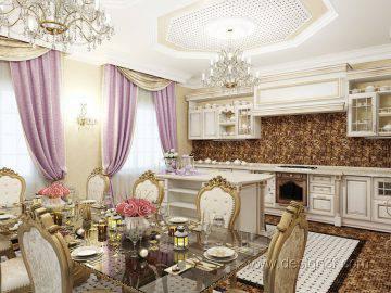 Дизайн интерьера кухни в дворцовом стиле