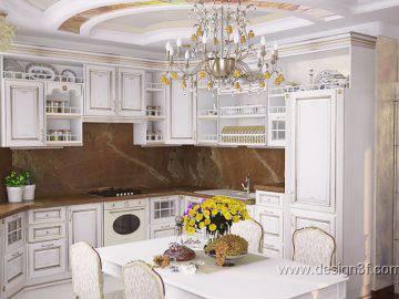 Белая кухня в классическом интерьере