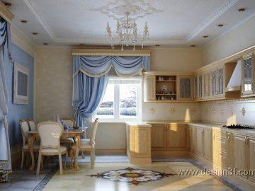 Кухня в доме в классическом стиле