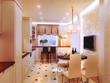 Светлая кухня с 3 д панелями