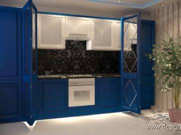 Небольшая кухня синего цвета