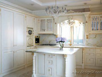 Интерьер светлой кухни в стиле неоклассика