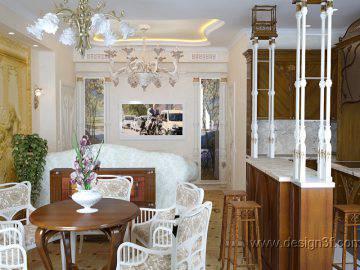 Гостиная с кухней в стиле арт-деко