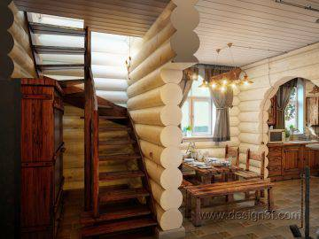Красивая кухня в деревянном доме