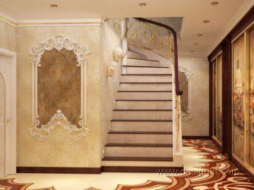 Прихожая с лестницей в восточном стиле