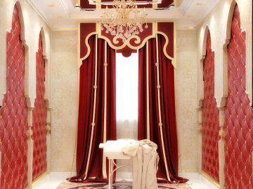 Комната для массажа в красном цвете
