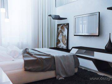 Современная спальня с декоративными 3д панелями