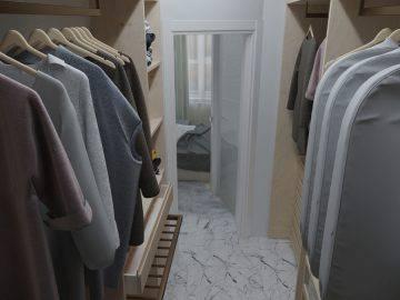 Белая спальня с гардеробной комнатой