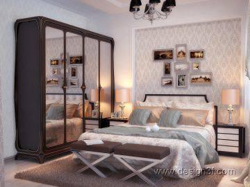 Классическая спальня с темной мебелью
