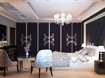 Интерьер спальни в черно белом цвете