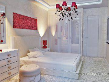 Белая спальня с красными акцентами