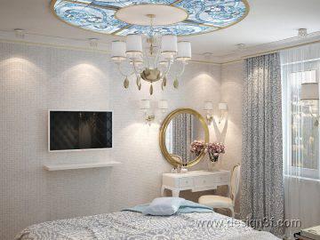 Дизайн спальни в голубом цвете