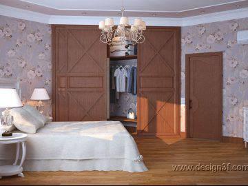 Интерьер спальни для гостей в загородном доме