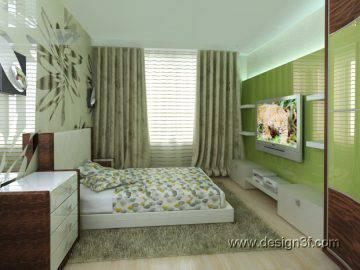 Спальня в салатовых цветах