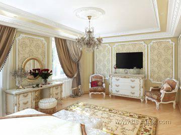 Современная идея дизайна спальни в классическом стиле