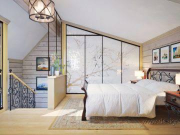 Интерьер спальни для гостей на мансардном этаже