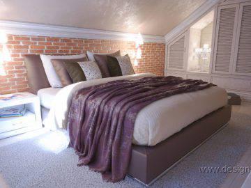 Спальня в современном стиле на мансардном этаже