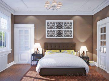 Интерьер спальни в шоколадных тонах