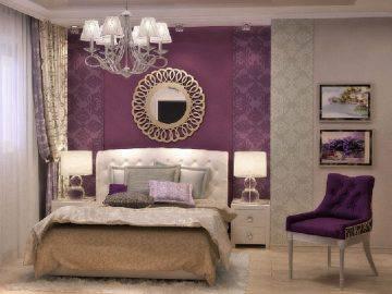 Современная спальня цвета фуксии