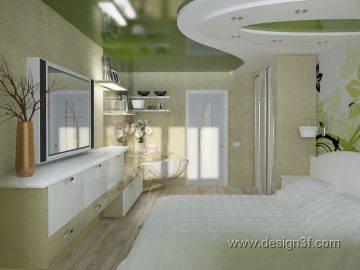 Современный дизайн интерьера спальни в зеленых тонах