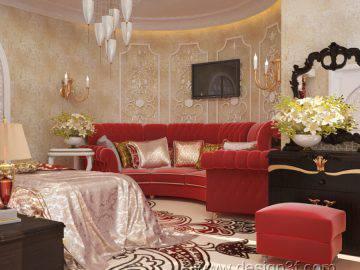 Интерьер восточной спальни в красных тонах