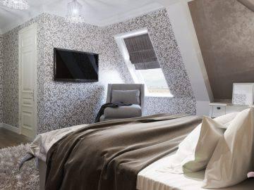 Современный интерьер спальни на мансардном этаже