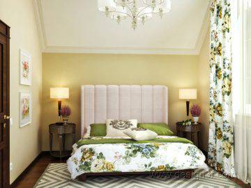Сочетания зеленого и желтого цвета в интерьере спальни